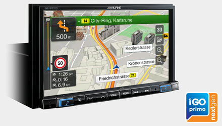 Built-in iGo Primo NextGen Navigation - INE-W710D